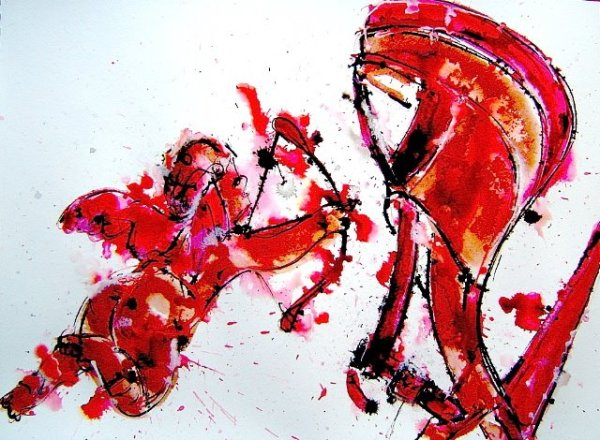 Image of artwork. Style reminiscent of Warhol's blotted ink drawings, but with vibrant red color added. Image is of a high heel show and small cupid-like angel with bow and arrow aimed at shoe