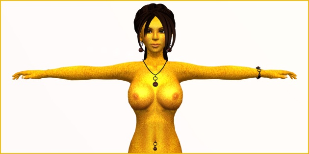 Photo of Vaneeesa Blaylock, naked, covered in bright yellow bee pollen and standing with her arms stretched out