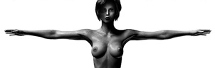 Image of Vaneeesa Blaylock, naked, arms extended, reminiscent of Leonard's Vitruvian Man