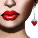 Image of Strawberry Singh's gravatar profile pix showing a close-up of the lower-right part of her face, with big, red lips and a red strawberry drop earring