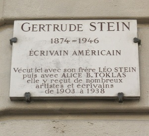Gertrude Stein plaque at the site of her former apartment in Paris