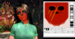 Girl in green polo shirt with red halloween-like face paint and Blue Mars pallet showing how to achieve this look