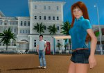 PR Image from Blue Mars Online featuring a girl and guy in blue casual clothes in front of a Florida-like building