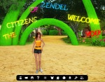 "Vaneeesa Blaylock in Blue Mars standing in front of many green ""welcome"" arches"