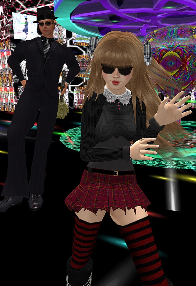 Screen Cap from MMO Second Life. Tuna Oddfellow's Tunaverse Dance Club where Aero Bigboots dances in a short skirt and sunglasses