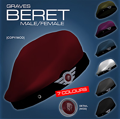 "Advertising image for Graves Leather Latex Metal's ""Beret"" a paramilitary beret in 7 colors"