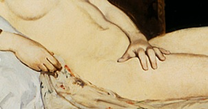Detail of the 1863 painting Olympia by Victorine Meurent and Edouard Manet