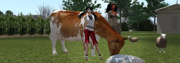 image of Vaneeesa and Xue on a farm at Arkansas State