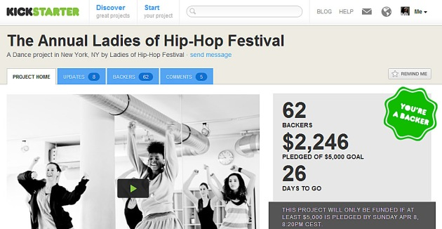 image of Kickstarter page for The Annual Ladies of Hip-Hop Festival