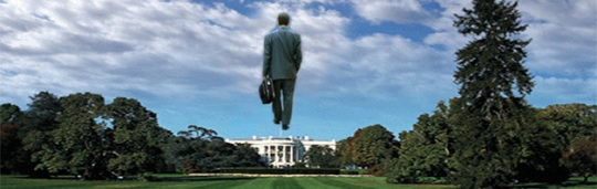 "image from film ""Being There"" of Peter Sellars / Chauncey Gardiner walking on air above the White House"
