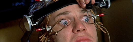 The character Alex receiving eye treatments in the film Clockwork Orange