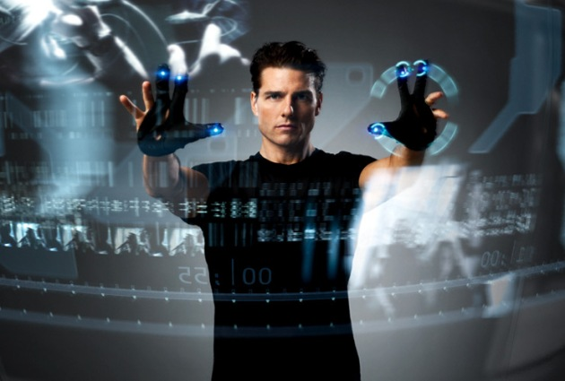 "image from film ""Minority Report"" of Tom Cruise using ""multi-gesture"""