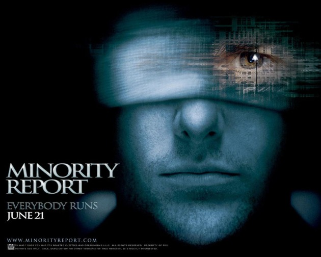 "image from the film ""Minority Report"" showing close up of Tom Cruise wearing a bandage that covers one eye and reveals the other"