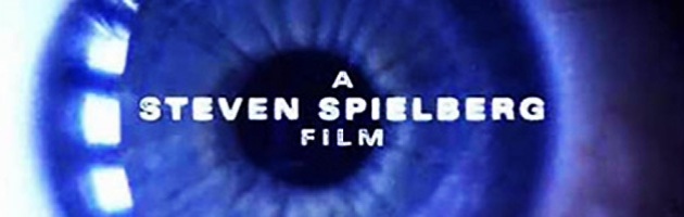 "close up of human eye with ""a Steven Spielberg film"" superimposed on it"
