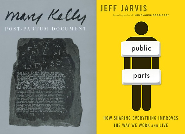 image of book covers: Mary Kelly's Postpartum Document and Jeff Jarvis' Public Parts