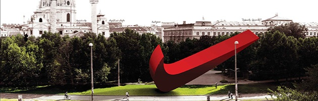 "concept image of giant Nike whoosh sculpture in the Karlsplatz, Vienna, from Eva & Franco Mattes ""fake"" project Nike Ground"