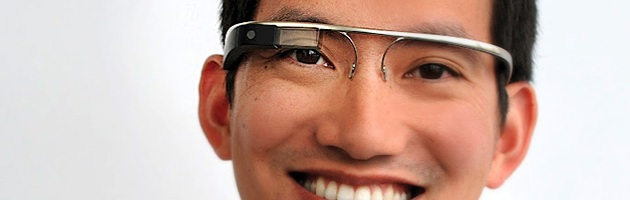 "Google software engineer ""Stephen"" wearing mock-up concept of ""Google Glass"" glasses"