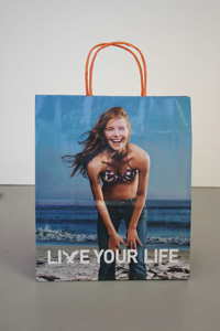 "Image of shopping bag with text ""Live Your Life"" from Rosemary Williams ""Rosemary Goes to the Mall"" project"