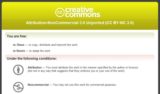 Screen Shot of Creative Commons Non-Commercial license
