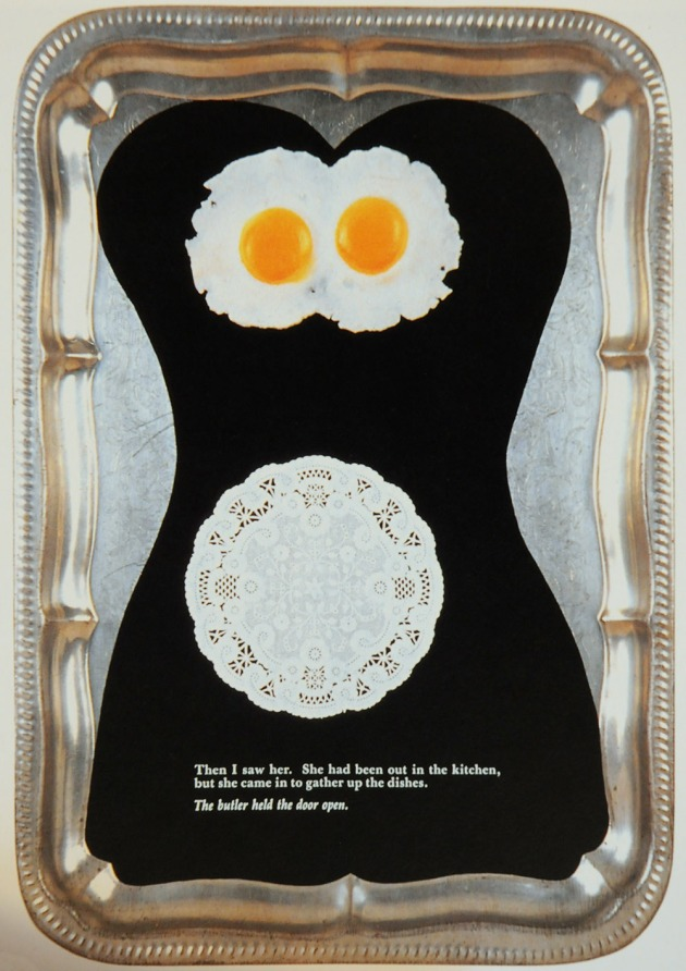A collage / assemblage of plastic eggs on a black silhouette of a female figure all glued on a metal serving tray with pulp fiction text on the bottom.