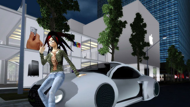 Avatar in front of futuristic car in front of Apple Store in Chinese Virtual World HiPiPHi
