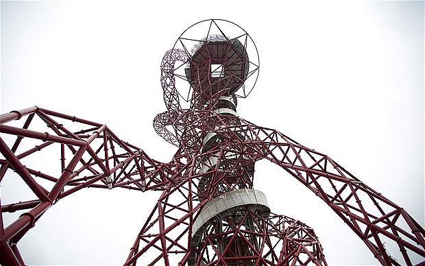 Photo looking up the ARcelorMittal Orbit in London at a steep angle