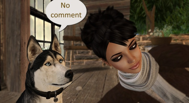 "Image of Meandra with her dog, who has a speech bubble superimposed ""no comment"""