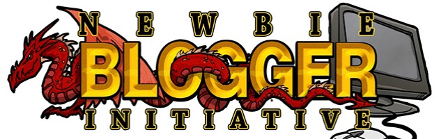 Newbie Blogger Initiative 2012 logo. Typography over image of dragon, monitor, and mouse