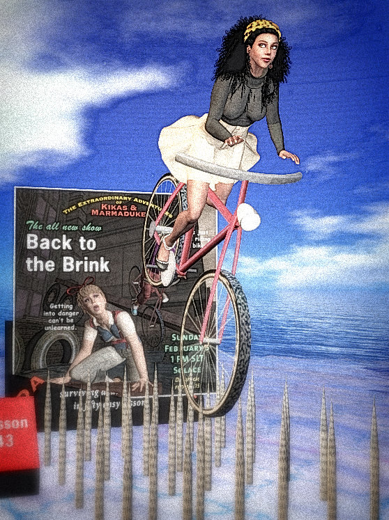 "Vaneeesa Blaylock riding a bicycle that is part of Kikas & Marma's 3D performance invitation. The bicycle is about to descend on a bed of nails and the sign reads ""Back to the Brink"""