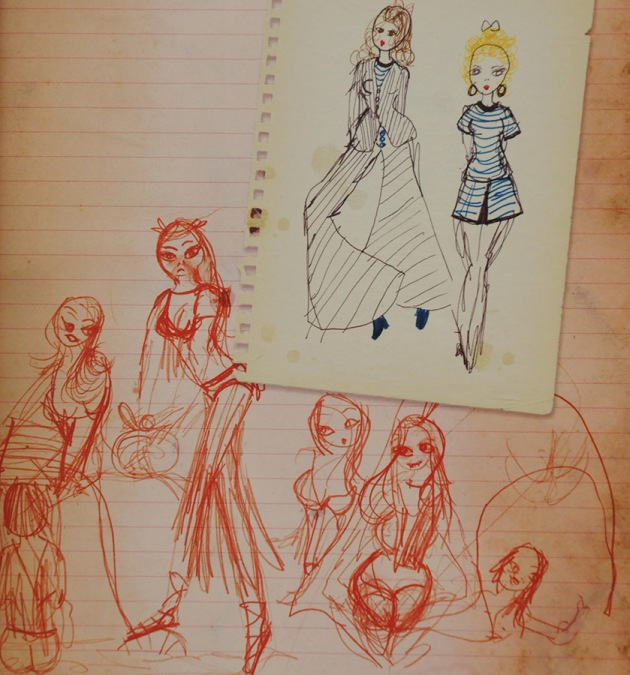 Some 1980 pencil sketches in my journal for various costumes to be worn in a summer play