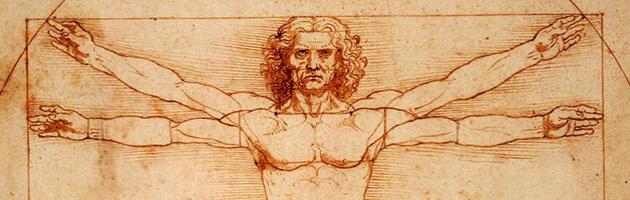 Detail of Leonardo da Vinci's Vitruvian Man