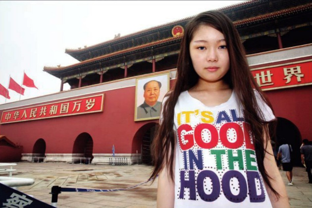 Xue Faith, Age 8, in 2000,  in Tiananmen Square, Beijing