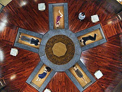 "Eliza Dushku's ""Echo"" and other characters sleep in ""Feng shui bed chambers"" on the set of Joss Whedon's Dollhouse"