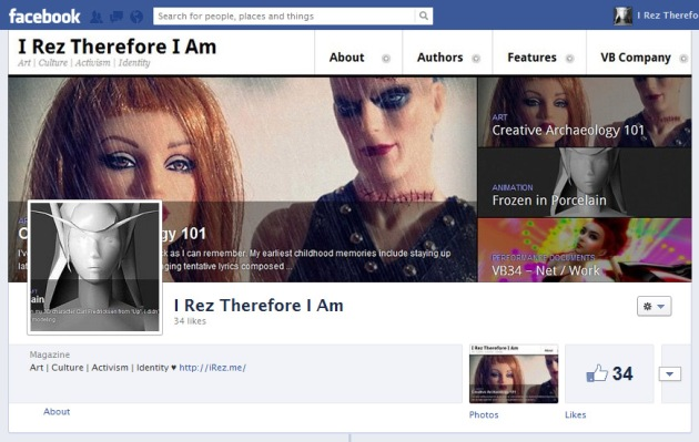 Screen Cap of I Rez Therefore I Am page on Facebook