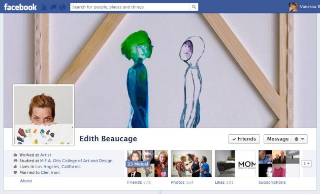 Screen Cap of Edith Beaucage's Facebook Timeline Cover