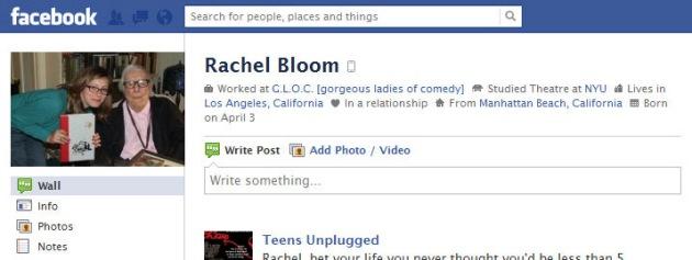 Screen Cap of Rachel Bloom's Facebook Profile Pix
