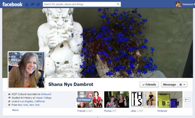 Screen Cap of Shana Nys Dambrot's Facebook Timeline Cover