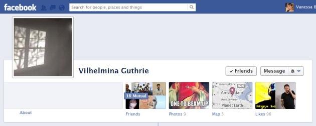 Screen Cap of Vilhelmina Guthrie's Facebook Timeline Cover