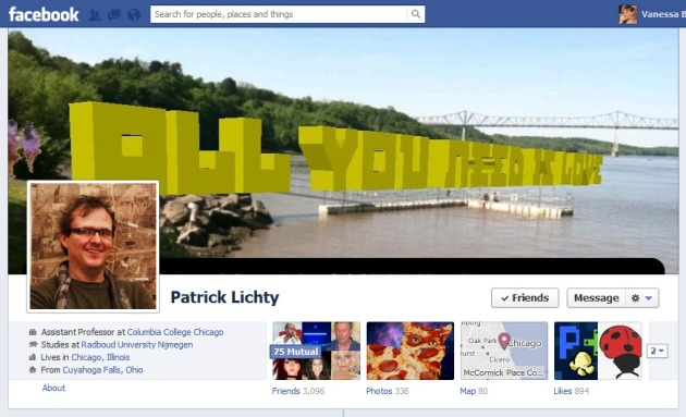 Screen Cap of Patrick Lichty's Facebook Timeline Cover