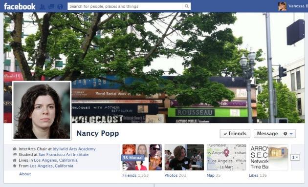 Screen Cap of Nancy Popp's Facebook Timeline Cover