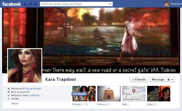 Screen Cap of Kara Trapdoor's Facebook Timeline Cover