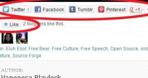Screen cap of Wordpress blog page with social sharing icons circled