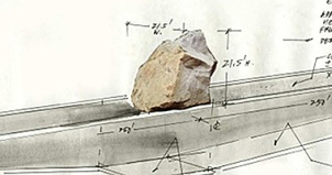 Michael Heizer's drawing for the installation of Levitated Mass at LACMA