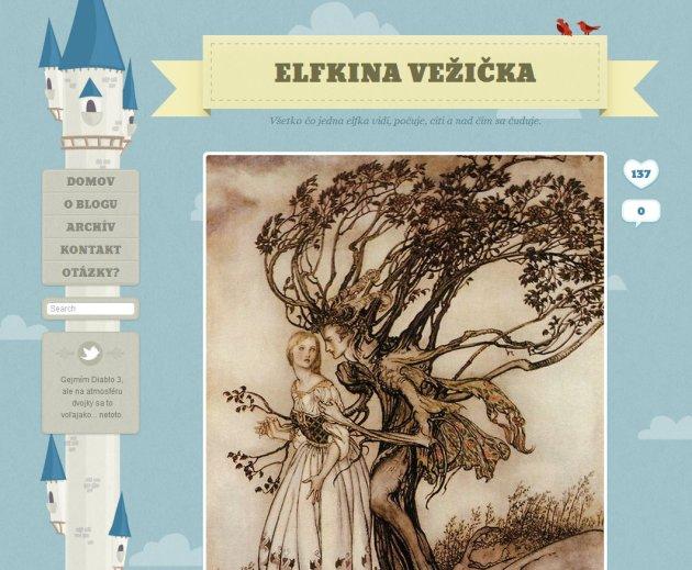 home page of Elfkina Vežička, a Slovakian MMO blog