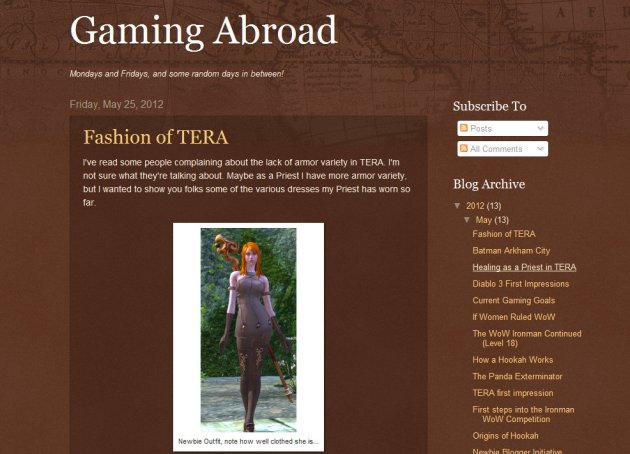 screen shot of home page of MMO Blog Gaming Abroad