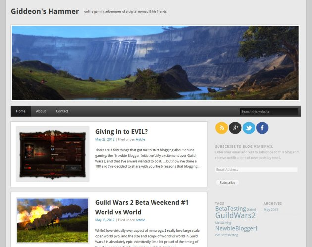 image of blog home page for MMO blog Giddeon's Hammer