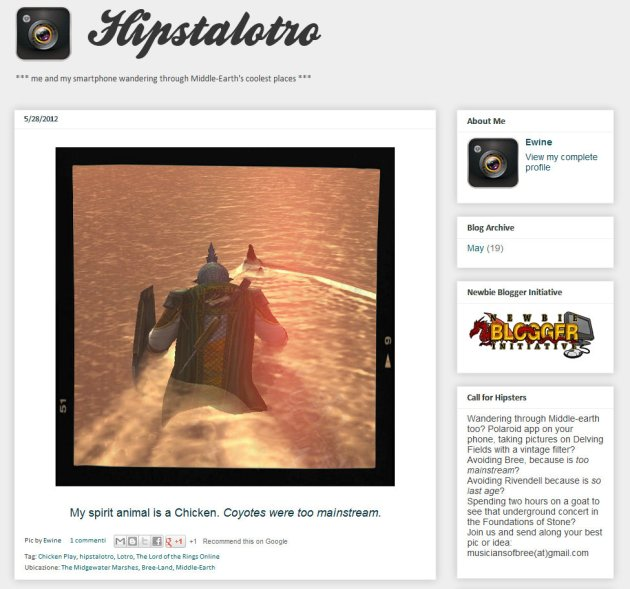home page of Middle Earth blog Hipstalotro
