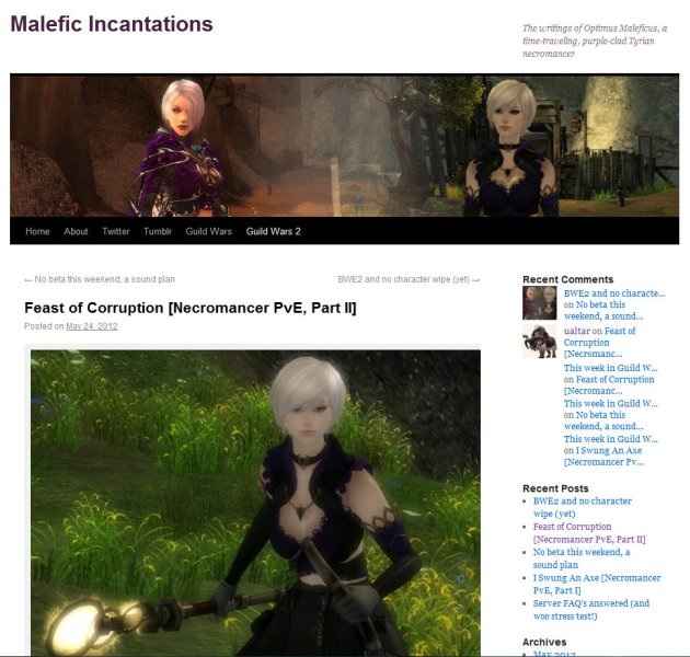 screen shot of home page of MMO Blog Malefic Incanatations