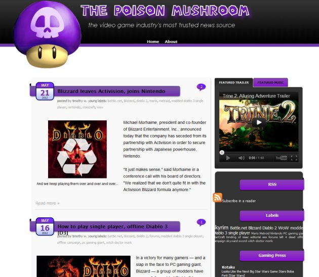 screen shot of MMO Blog The Poison Mushroom