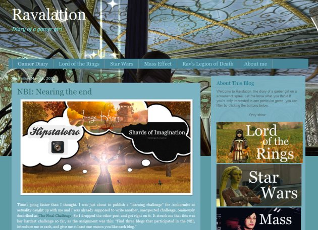 "screen shot of home page of ""Ravalation"" MMO photo blog"